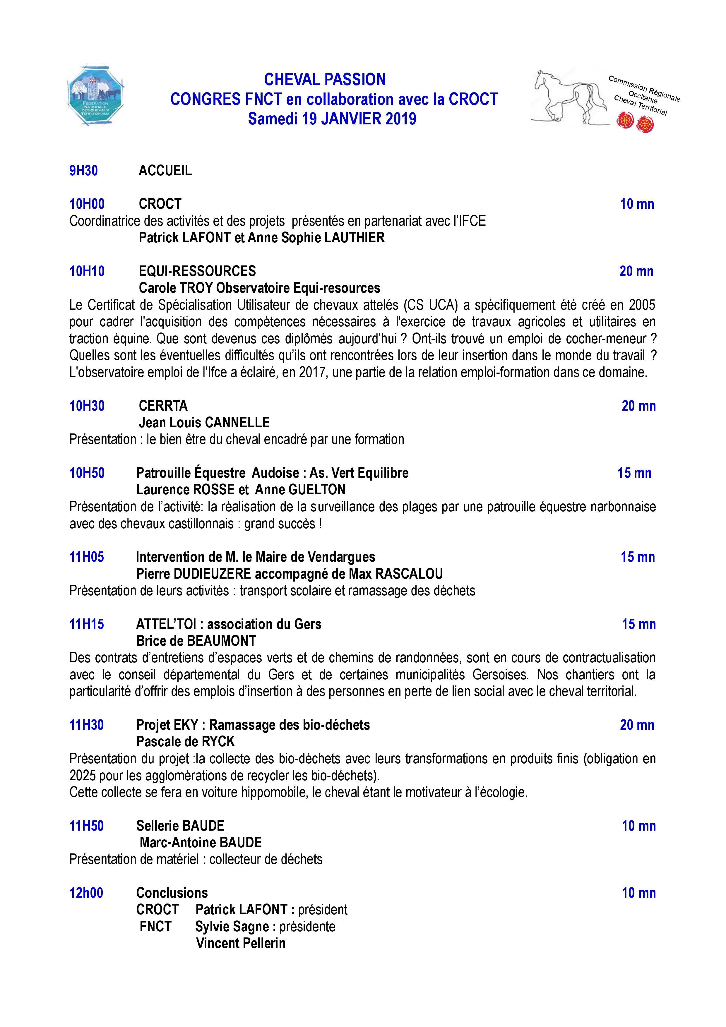 RDV le 19/01/19 à Cheval Passion pour la CROCT